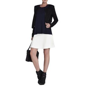 BCBGMaxAzria Jackets & Coats - BCBGMAXAZRIA FLORA RUFFLE FRONT BLACK JACKET SZ M